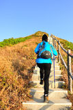 Hiking woman climbing mountain stairs Royalty Free Stock Photos