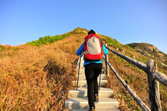 Hiking woman climbing stairs on mountain Stock Photography