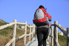Hiking woman climbing up to mountain peak Royalty Free Stock Image