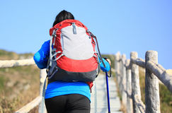 Hiking woman climbing up to mountain peak Royalty Free Stock Photography