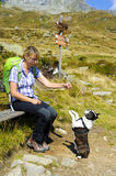 Hiking woman with dog in mountains Royalty Free Stock Image
