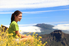 Hiking woman enjoying view Stock Photos