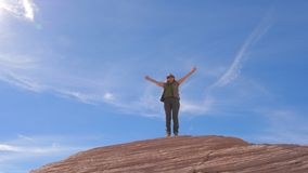 Hiking Woman Happy Of Achievement Arms Up Raised To The Sky And Swirling Around Royalty Free Stock Photography