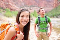 Hiking woman - hiker portrait walking in Zion Park stock image