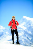 Hiking woman portrait on mountain peak Royalty Free Stock Photography