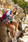 Hiking woman portrait smiling happy in mountains of Grand Canyon Crimea. Royalty Free Stock Photo