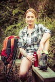 Hiking Woman Resting Stock Images