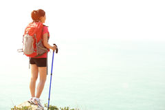 Hiking woman seaside Stock Image