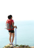 Hiking woman seaside Stock Photo