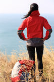 Hiking woman seaside Stock Images