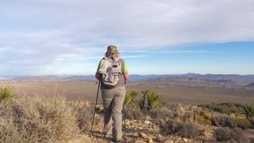 Woman Hiker Coming Down The Hill Along The Trail In The Mojave Desert, Rear View. Hiking woman in sun protection clothing with a backpack and trekking sticks, it stock video footage