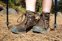 Hiking woman with trekking boots on the trail Stock Image