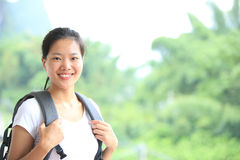 Hiking woman in yangshuo Stock Photo
