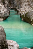 Hiking in wonderful landscape with pure river soca in canyon gorge moutains, julian alps, slovenia Royalty Free Stock Photos