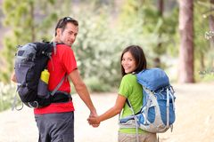 Hiking young couple royalty free stock photo