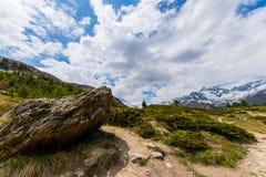Hiking in Zermatt, Valais, Switzerland. View from hiking track in Zermatt, Valais, Switzerland stock photos