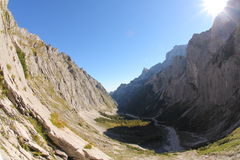 Hiking Zugspitze. Hiking trail to the top of Zugspitze, Germany's highest mountain. Shot with a fish eye Royalty Free Stock Images