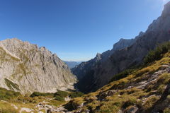 Hiking Zugspitze. Hiking trail to the top of Zugspitze, Germany's highest mountain. Shot with a fish eye Stock Photography