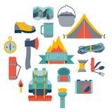 Hikingand het kamperen materiaal Royalty-vrije Stock Foto's
