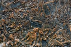 HIKKADUWA,斯里兰卡,大约2013年12月:对2004的海啸受害者的年纪念碑 图库摄影