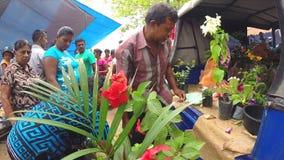 HIKKADUWA, ΣΡΙ ΛΑΝΚΑ - ΤΟ ΜΆΡΤΙΟ ΤΟΥ 2014: Λουλούδια αγοράς γυναικών στην αγορά της Κυριακής στη Σρι Λάνκα απόθεμα βίντεο