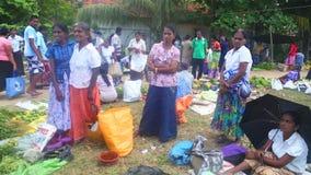 HIKKADUWA, ШРИ-ЛАНКА - ФЕВРАЛЬ 2014: Местные женщины представляя для фото и продавая на рынке Hikkaduwa Рынок Hikkaduwa воскресен акции видеоматериалы