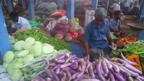HIKKADUWA, ШРИ-ЛАНКА - ФЕВРАЛЬ 2014: Местный человек продавая овощи на рынке Hikkaduwa Рынок Hikkaduwa воскресенья знан для своег сток-видео