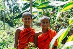 Hikkaduwa, Шри-Ланка - 09th из февраля 2014 - 2 буддийских мальчика в виске Стоковая Фотография RF
