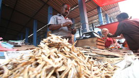 HIKKADUWA, SRI LANKA - FÉVRIER 2014 : Homme local vendant les poissons secs au marché de Hikkaduwa Le marché de Hikkaduwa dimanch banque de vidéos