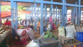 HIKKADUWA, SRI LANKA - FEBRUAR 2014: Ansicht von Hikkaduwa-Markt Markt Hikkaduwa Sonntag bekannt für seine breite Palette von Ver stock video