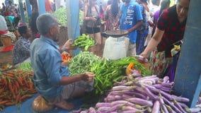 HIKKADUWA, SRI LANKA - FEBRUAR 2014: Bemannen Sie das Wiegen und den Verkauf seines Erzeugnisses an Hikkaduwa-Markt Markt Hikkadu stock video footage