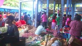 HIKKADUWA, SRI LANKA - FEBRUAR 2014: Einheimische, die ihr Erzeugnis an Markt Hikkaduwa Sonntag, bekannt für seine breite Palette stock footage