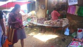 HIKKADUWA, SRI LANKA - FEBRUAR 2014: Einheimischverkauf und -leute, die vorbei an Hikkaduwa-Markt überschreiten Markt Hikkaduwa S stock video footage