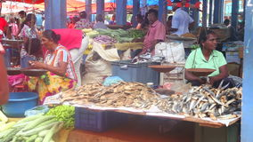 HIKKADUWA, SRI LANKA - FEBRUAR 2014: Einheimischverkauf und -leute, die vorbei an Hikkaduwa-Markt überschreiten Markt Hikkaduwa S stock footage