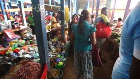 HIKKADUWA, SRI LANKA - FEBRUAR 2014: Lokale Frau, die durch überschreitet und an Hikkaduwa-Markt grast Markt Hikkaduwa Sonntag is stock footage