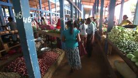 HIKKADUWA, SRI LANKA - FEBRUAR 2014: Lokale Frau, die durch überschreitet und an Hikkaduwa-Markt grast Markt Hikkaduwa Sonntag is stock video