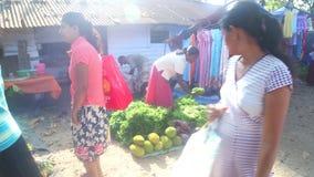 HIKKADUWA, SRI LANKA - FEBRUAR 2014: Lokaler Frauenverkauf und -leute, die vorbei an Hikkaduwa-Markt überschreiten Markt Hikkaduw stock video footage