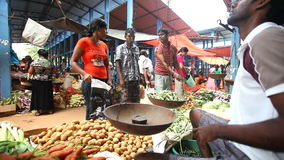 HIKKADUWA, SRI LANKA - FEBRUAR 2014: Lokaler Mannverkauf und -leute, die an Hikkaduwa-Markt kaufen Markt Hikkaduwa Sonntag ist be stock video