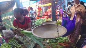 HIKKADUWA, SRI LANKA - MÄRZ 2014: Ansicht der Frau ihr Frischgemüse am Sonntags-Markt in Sri Lanka wiegend stock video