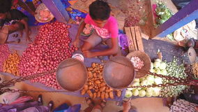 HIKKADUWA, SRI LANKA - MÄRZ 2014: Lokaler Mann, der seins Erzeugnis am Sonntags-Markt in Sri Lanka sitzt und verkauft Märkte Sri  stock footage