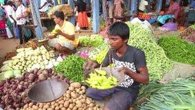 HIKKADUWA, SRI LANKA - MÄRZ 2014: Porträt des lokalen jungen Mannes, der Gemüse an Markt Hikkaduwa Sonntag, bekannt für sein brei stock video footage