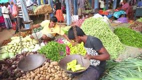 HIKKADUWA, SRI LANKA - MÄRZ 2014: Porträt des lokalen jungen Mannes, der Gemüse an Markt Hikkaduwa Sonntag, bekannt für sein brei stock footage