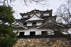 Hikone Castle Keep (Hikone Jo). A picture of Hikone Casle (Hikone-jo), Shiga Prefecture, Japan, taken in early winter. This castle was built in the Edo period stock images