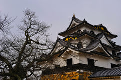 Hikone Castle Keep (Hikone Jo). A picture of Hikone Casle (Hikone-jo), Shiga Prefecture, Japan, taken in early winter. This castle was built in the Edo period royalty free stock images