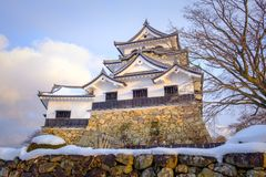 Hikone Castle in Winter snow, Shiga Prefecture Stock Images