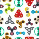 Hilandero Toy Seamless Pattern Background de la historieta Vector Imagen de archivo libre de regalías