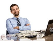 Hilarious businessman with arms crossed - isolated on white background Royalty Free Stock Photo