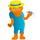 Hilarious cat in a straw hat. Royalty Free Stock Images