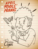 Hilarious Exploding Cigar Prank for April Fools' Day, Vector Illustration. Man Surprised for Exploding Cigar Prank in retro poster for April Fools' Day Stock Photos