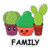 Hilarious family of cacti on a white background. Cute kawaii smiling cactuses.Baby and kids style abstract background.Sticker with colorful cactuses Royalty Free Stock Images